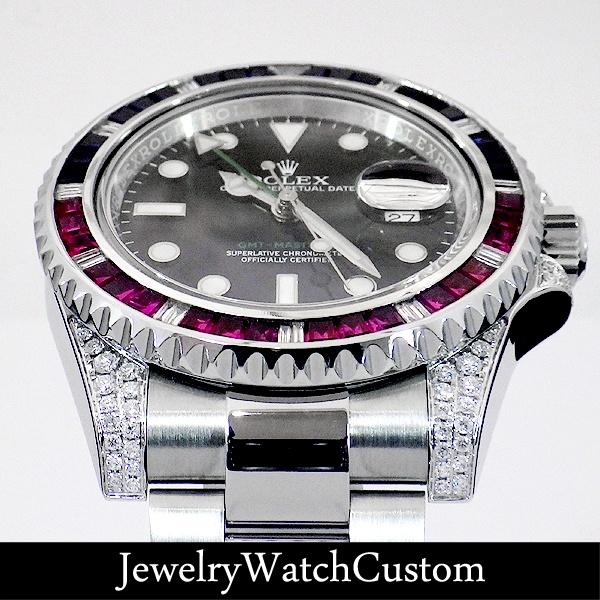 画像3: ROLEX GMTマスター2 ダイヤモンド サファイア ルビー アフターダイヤ